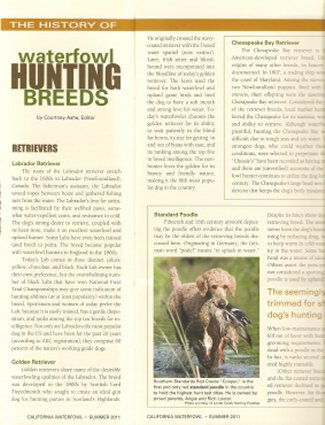 Cooper featured in California Waterfowl Magazine, 2011